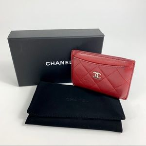 CHANEL Lambskin Quilted Card Holder Red